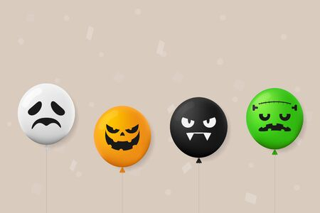 Illustration Happy Halloween Day. Holiday concept with horror characters in a cute balloon style for banner, poster, greeting card, party invitation. vector Ilustrace