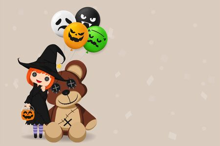 Illustration Happy Halloween Day. Holiday concept with cute little girl wearing a witch costume holding a pumpkin candy basket with balloon and doll bear isolated on background with copy space