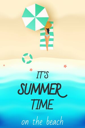 It's Summer Time with Woman are sunbathing on the beach vector illustration Ilustrace