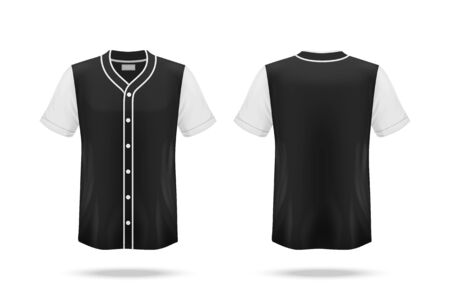 Specification Baseball Jersey T Shirt Mockup isolated on white background , Blank space on the shirt for the design and placing elements or text on the shirt , blank for printing , vector illustration