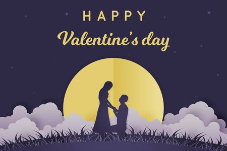 Illustration Young couple dating in Valentine day , Man kneeling to propose married to woman at night with full moon and cloud , romantic . star on the sky . Paper Sculpture art Style , Vector
