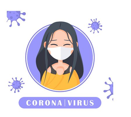 Illustration cute character about coronavirus , covid-19 , vector