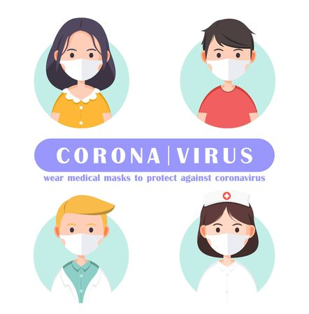 Illustration cute character wear medical masks to protect against coronavirus , covid-19 , vector