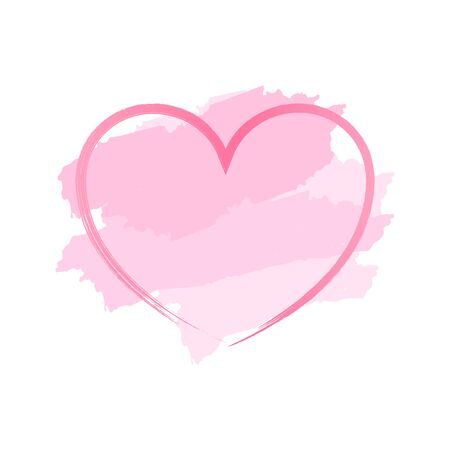 Abstract Background pink heart and brush painted watercolor with border , Banner for text here