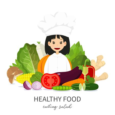 Illustration Chef girl cute character suggest healthy food . Vegetable minimal style isolated on white background , cartoon vector , raw materials for cooking , organic vegetable , copy space