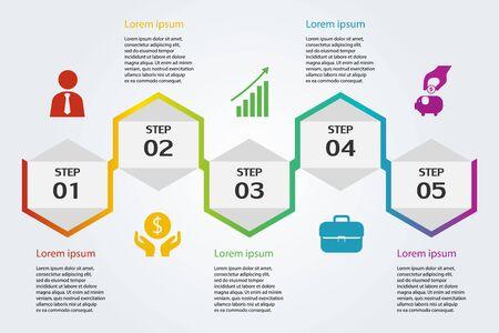Illustration Infographie , icône marketing pour la mise en page du flux de travail , stratégie d'idée , vecteur eps10