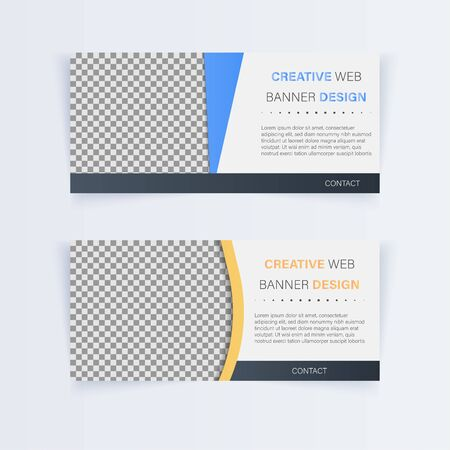 Creative web banner design . minimal style . card tag . badge . Flat linear , illustration vector Ilustrace