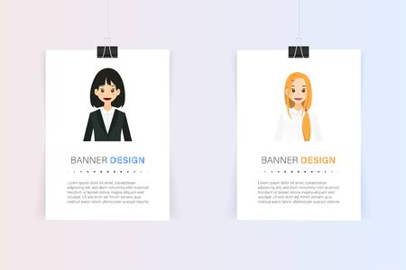 Creative banner design , business profile , paper with black clip , minimal style . card tag . badge , advertising element art , vector illustration Ilustrace
