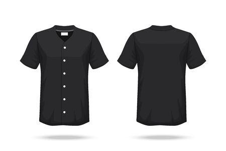 Spezifikation Baseball-T-Shirt Mockup isoliert auf weißem Hintergrund, Leerzeichen auf dem Hemd für das Design und das Platzieren von Elementen oder Text auf dem Hemd, leer zum Drucken, Vektorillustration