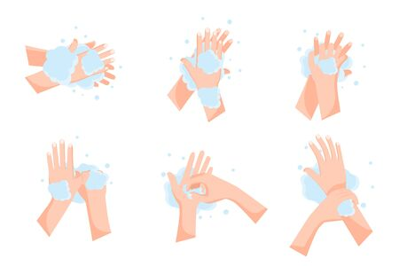illustration how to wash your hands to prevent coronavirus infection isolated on white background ,vector