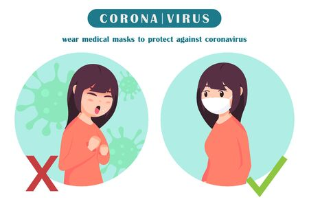The correct way when going out for prevent coronavirus , covid-19 , vector illustration
