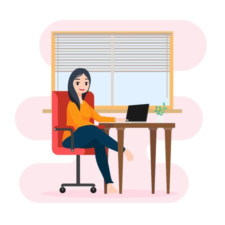 Cute character illustration sitting working with laptop , Concept staying at home or work at home to protect yourself from coronavirus , vector Ilustrace