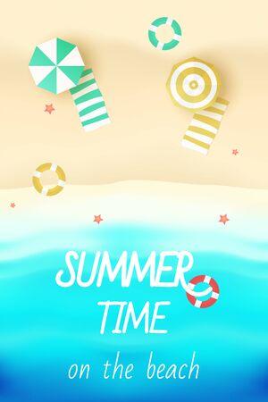 C'est l'heure d'été sur l'illustration vectorielle de plage Vecteurs