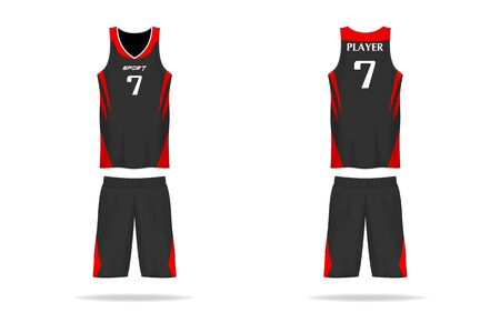 Specification basket Jersey template. mock up Sport T Shirt v neck uniform . Vector Illustration design