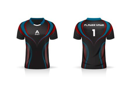 Specification Soccer Sport , Esport Gaming T Shirt Jersey template. mock up uniform . Vector Illustration design