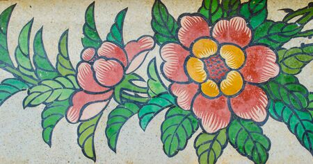 shrine: flower painting on granite wall in Chinese shrine