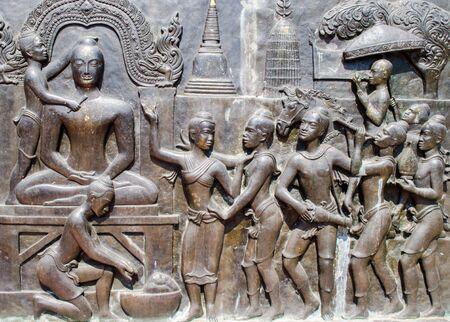 bas relief: Buddhism bas relief of  ancient Sukhothai kingdom Stock Photo