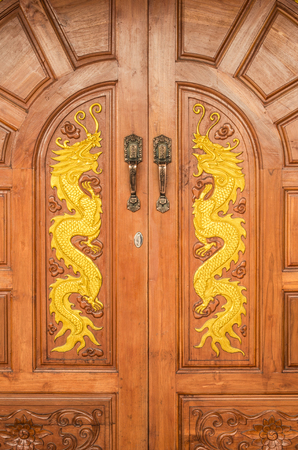 front house: front door of house with dragons
