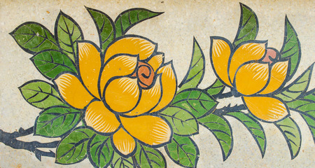 granite wall: flower painting on granite wall in Chinese shrine