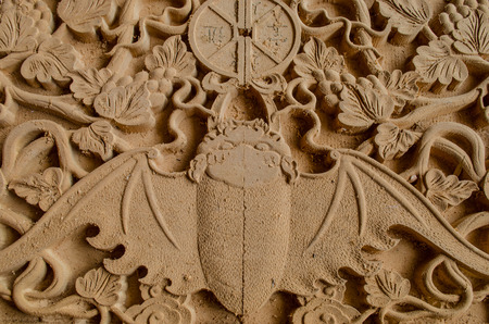 bas relief: chinese style wooden bat bas relief Stock Photo