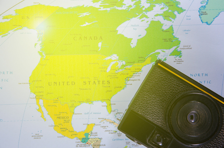 camera lay on north america map