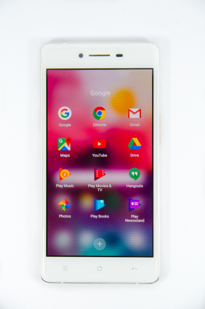 screen of google application on white oppo smartphone on isolated