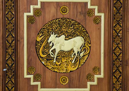 wooden taurus zodiac symbol carve