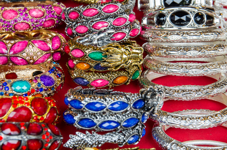 colorful of stone and silver bracelets Imagens