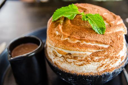 close up of chocolate bingsu dessert