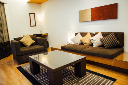 interior living room wit sofa and wooden floor