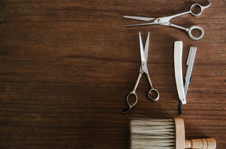 barber tool on wooden table with space Stock Photo