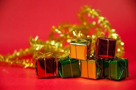 group of gift in christmas on red background