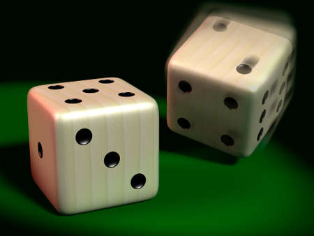 green carpet: Two playing dice rolled on the green carpet Stock Photo