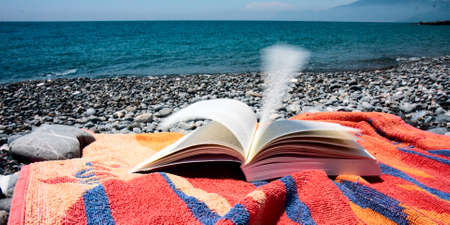 An open book is Placed on a colorful towel on a beach by the sea, the wind turns the pages, ruffling. Stock Photo