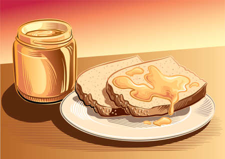 nectar: Jar of honey and slices of bread. Illustration