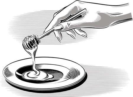 Female hand pouring honey into a saucer.