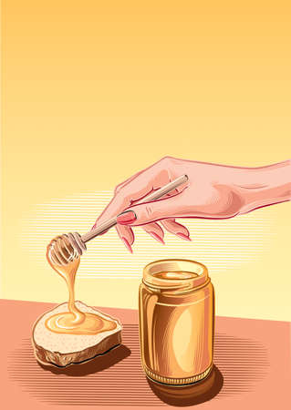 nectar: Jar of honey and female hand stretches of honey on a slice of bread. Illustration