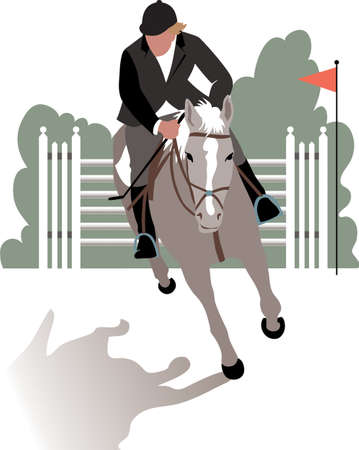 racecourse: Horse and rider During a jumping competition hurdles. Illustration