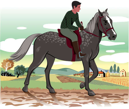 Horse and rider in an agricultural landscape with a farm