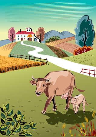 암소는 그녀의 송아지와 풀밭에 방목.