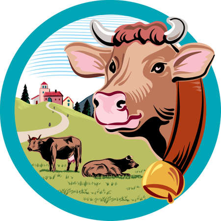 Round frame, with landscape and head of cow.