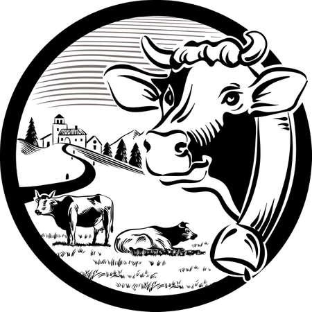 Rond kader, met landschap en hoofd van koe.