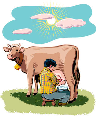 Breeder intends to milk a cow on a mountain meadow.