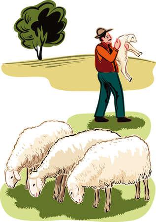 Kudde schapen en herder met een lam in haar armen.