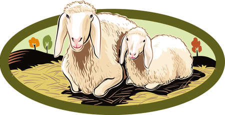 Oval frame with ewe and her lamb. Illustration