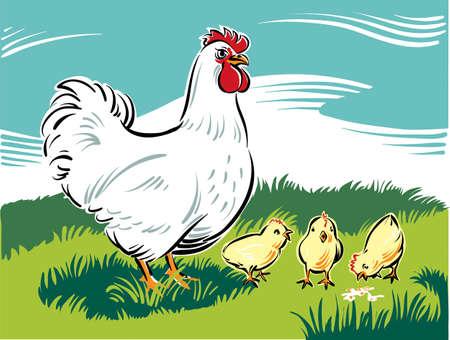 鶏の雛は、食べ物を見つける方法を教えます。