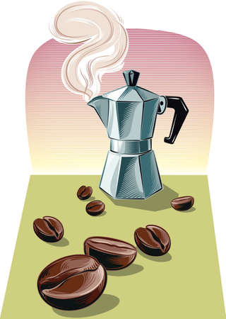 Steaming Italian coffee maker. Illustration