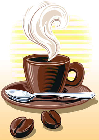Cup of steaming coffee. 向量圖像