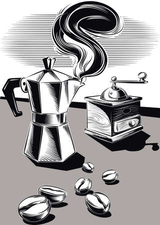 Steaming coffee pot and some coffee beans. 向量圖像