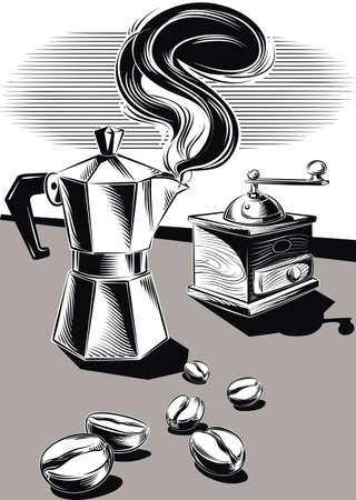 Steaming coffee pot and some coffee beans. Illusztráció